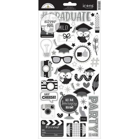 Стикеры с серебряным фольгированием  Hats Off от Doodlebug - 15х30см.