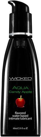Лубрикант с ароматом сахарного яблока Wicked Aqua Candy Apple - 60 мл.