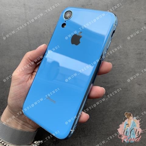 Чехол iPhone XR Glass Silicone Case Logo /blue/