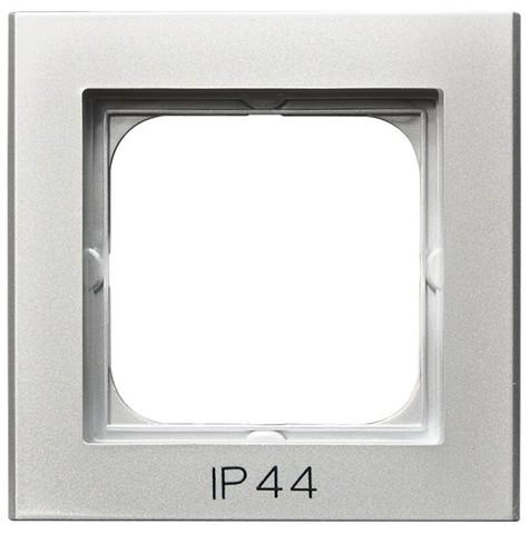 Рамка на 1 пост для выключатель IP-44. Цвет Серебро матовое. Ospel. Sonata. RH-1R/38