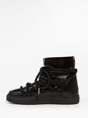 Высокие комбинированные кеды INUIKII 70202-67 Sneaker Patent Black-Yellow на меху