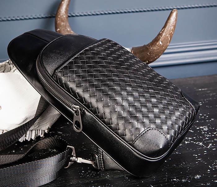 BAG537-1 «Плетеная» кожаная сумка через одно плечо фото 08