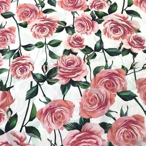 Ткань шелк матовый с эластаном  розы на белом 1103