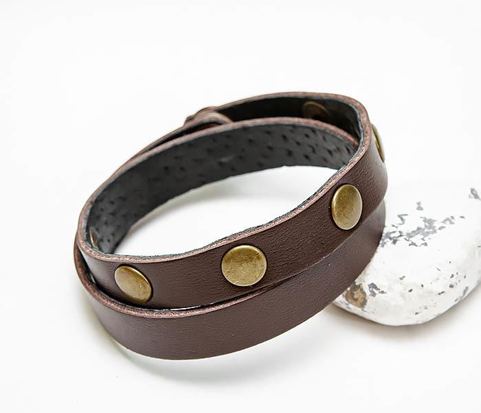 Boroda Design, Двойной коричневый браслет из натуральной кожи