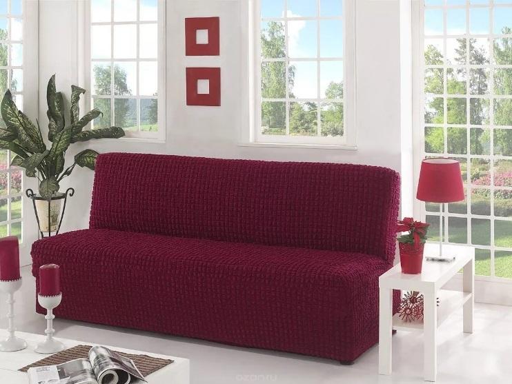 Чехол на диван без подлокотников, бордовый