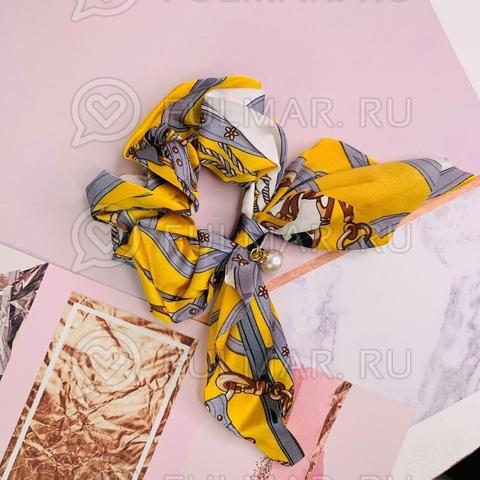 Резинка для волос с бантом и бусинкой