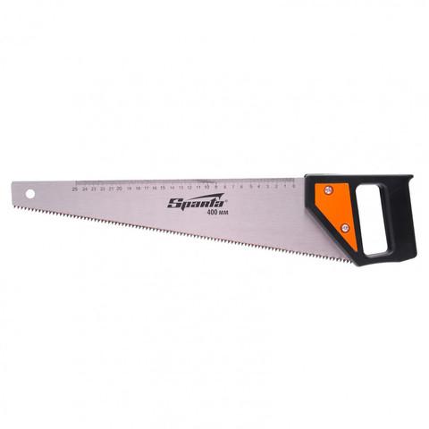 Ножовка по дереву, 400 мм, 5-6 TPI, каленый зуб, линейка, пластиковая рукоятка Sparta