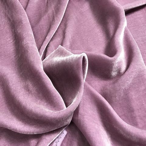 Ткань бархат нежно-лиловый шелковый 3079