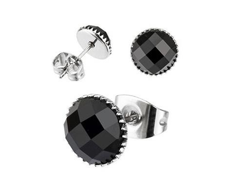 SER110-5K Мужские серьги из стали с черным камнем (5 мм), «Spikes»