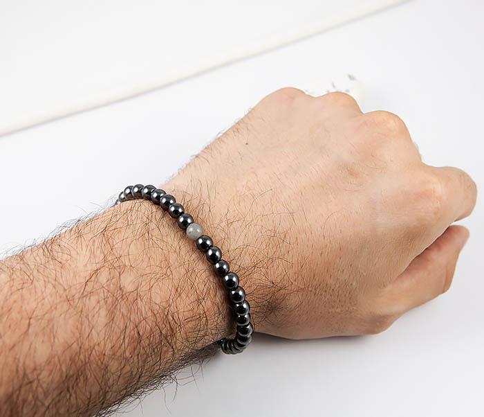 BS838 Тонкий мужской браслет из гематита с лабрадором фото 08