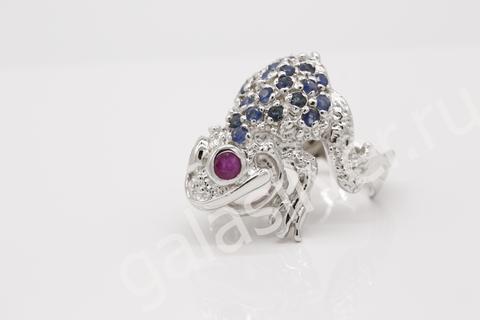 Кольцо с рубином и сапфирами из серебра 925