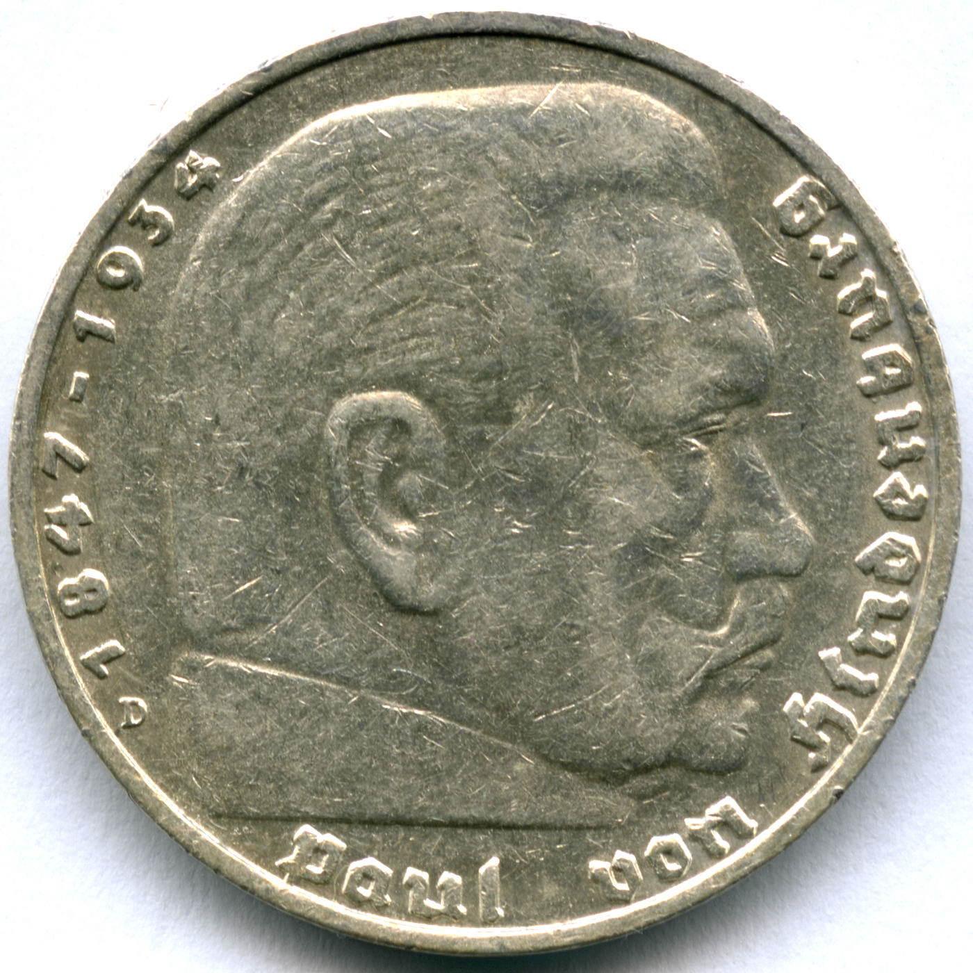 5 марок 3 рейх 1936 год (D) орел без свастики XF-AU
