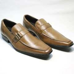 Кожаные туфли мужские классика Mariner 12211 Light Brown