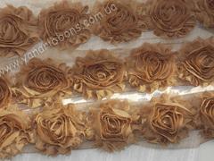 Шифоновые шебби-розы коричневые  диаметр 6 см