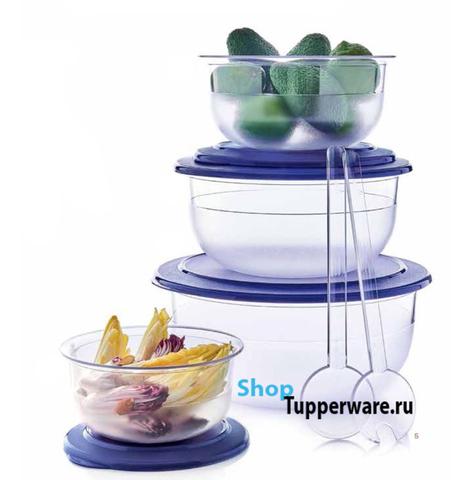 Набор чаш из Сервировочной коллекции (1.1л, 2.1л, 3.5л, 6л) в синем цвете