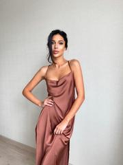 Платье длинное кофейное Lilit