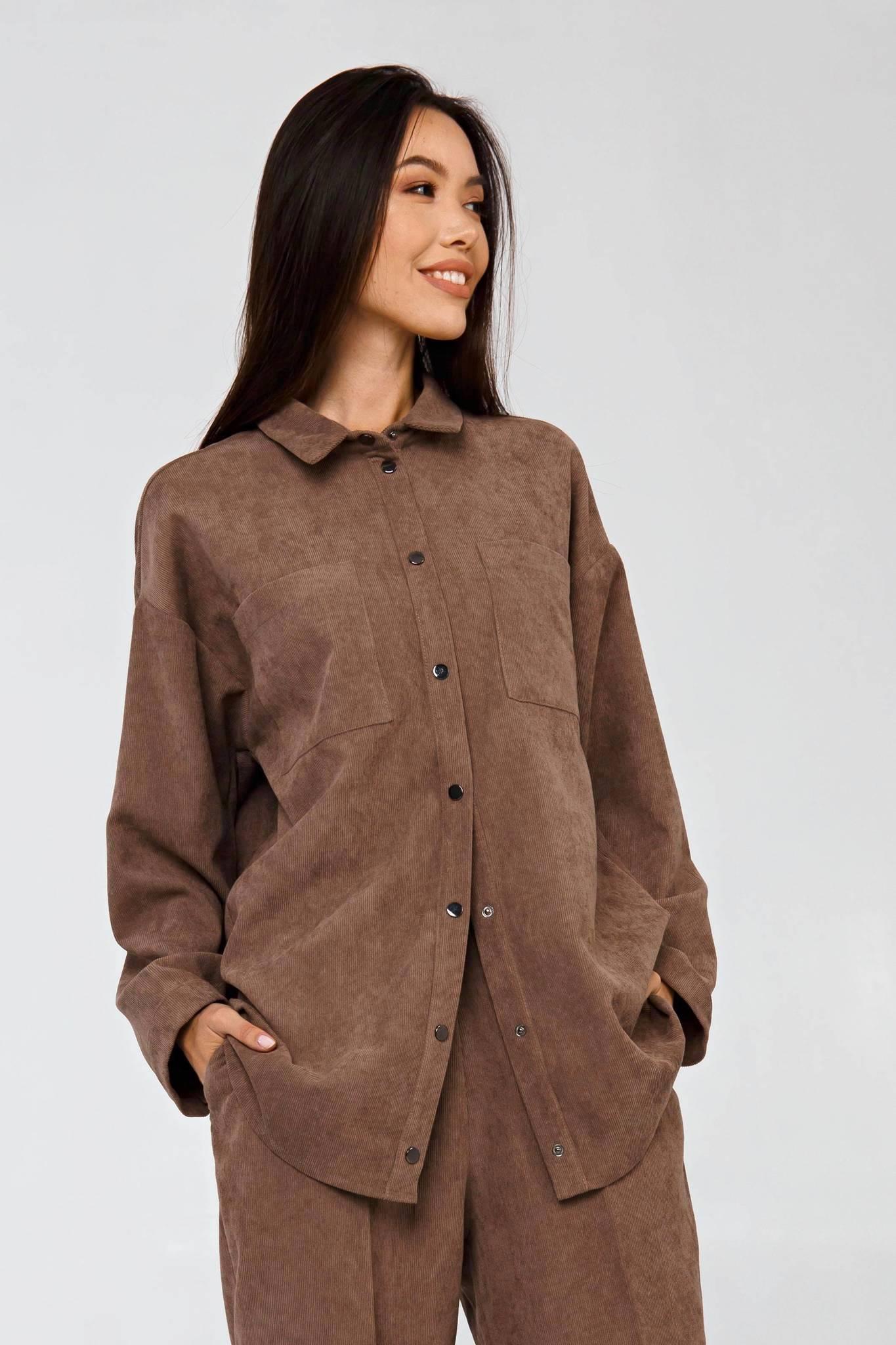 Вельветовая рубашка в рубчик пепельный беж YOS