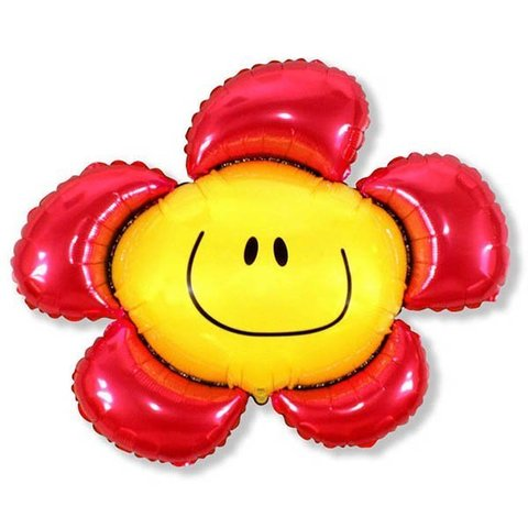 Фольгированный воздушный шар Солнечная улыбка. Красная.