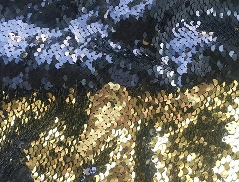 Пайетки двухсторонние - золотой / черный на сетке
