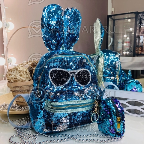 Рюкзак с пайетками и ушами Заяц в очках меняет цвет Голубой-Серебристый и ключница-брелок Заяц