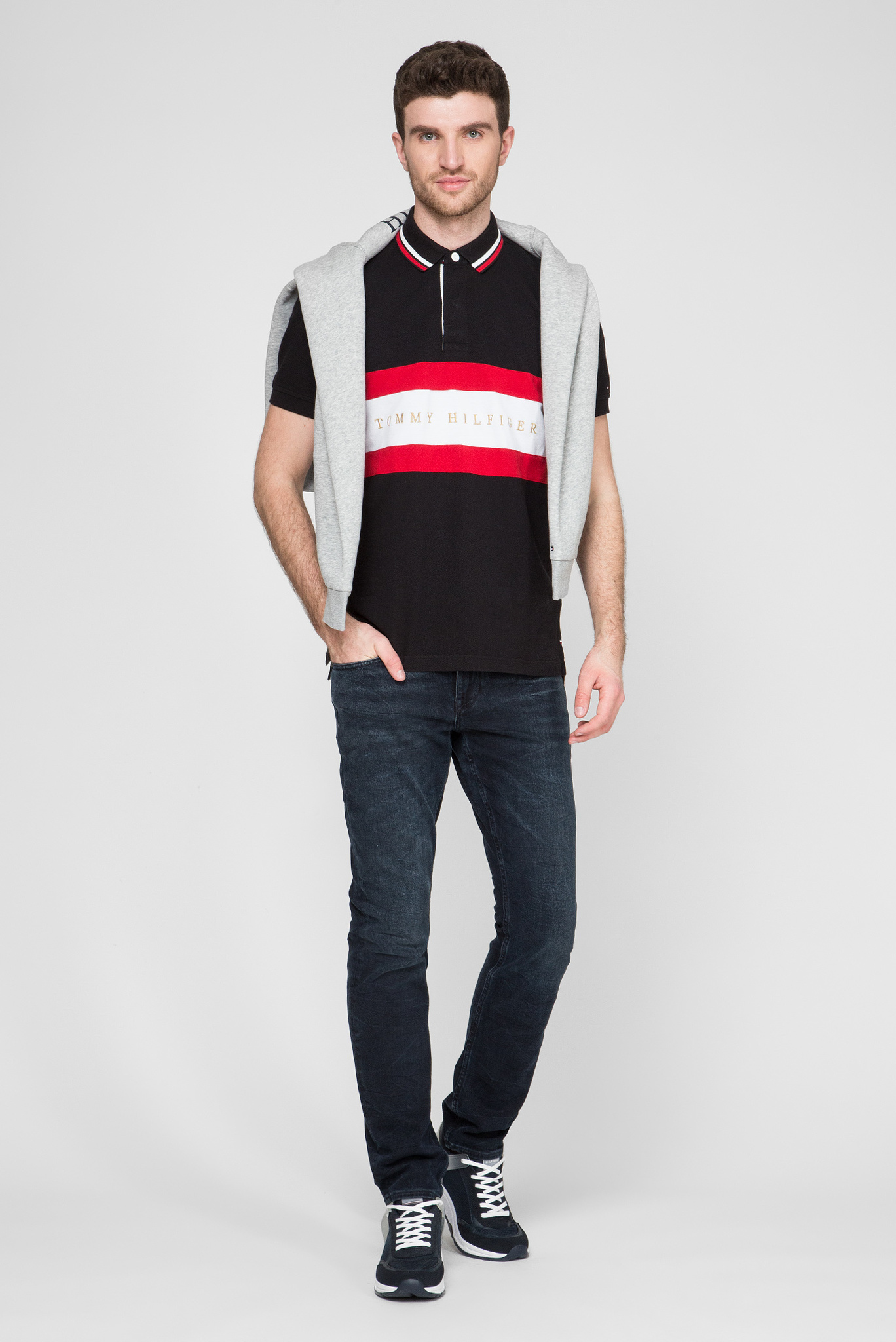 Мужское черное поло ICONIC CHEST STRIPE REGULAR Tommy Hilfiger