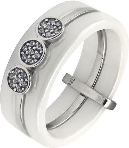 94011606 Кольцо из белой керамики со вставкой из серебра с фианитами