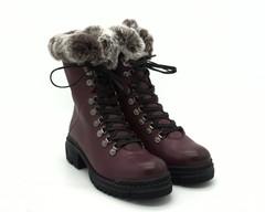 Бордовые ботинки из натуральной кожи на платформе