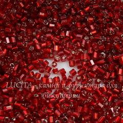 97070 Бисер Preciosa рубка 9/0, прозрачный красный с серебряным центром