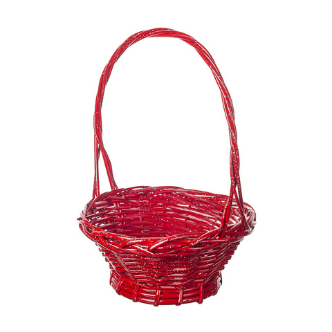 Корзина плетеная (ива) с блестками, D30x11,5xH40,4см, красный