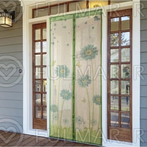 Антимоскитная сетка на дверь балкона и дома на магнитах с рисунком Герберы 90х210 см Зеленая