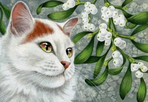 Алмазная Мозаика 20x30 Белая кошка и ягоды