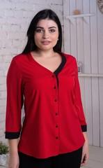 Ольга. Стильная комбинированная блуза. Красный