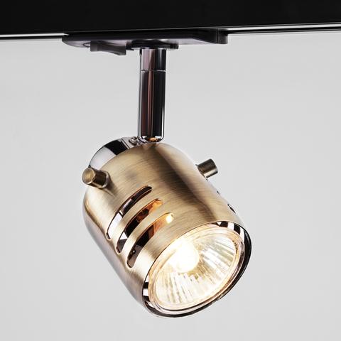 Трековый светильник с поворотным механизмом 20076/1 хром/античная бронза