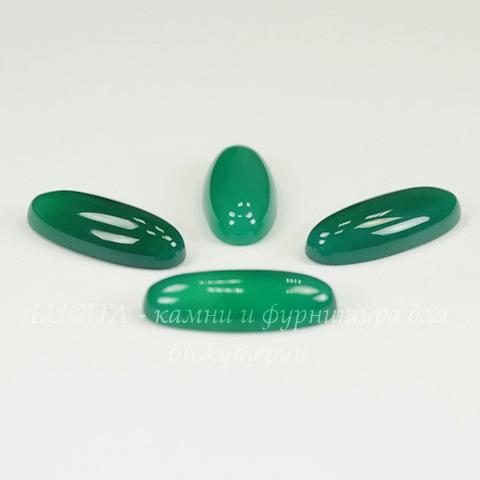Кабошон овальный Агат зеленый, 24х10 мм