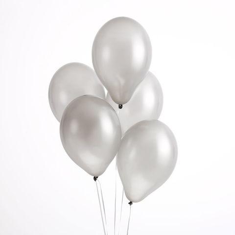Воздушные шары серебряные металлик