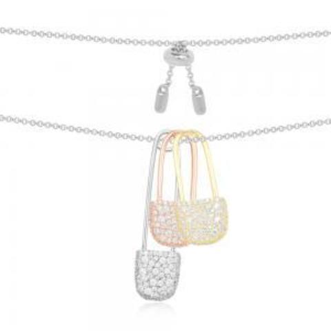 Колье с тремя булавками из трехцветного серебра в стиле APM MONACO