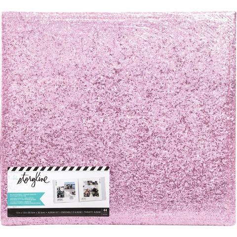 Альбом в переплете для Project Life 30х30 см - Heidi Swapp Storyline 3 Post Bound Album- Pink Glitter