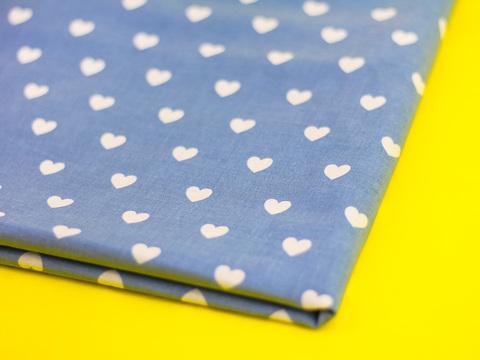 Ткань хлопок, Let's make отрез 30х40 см. Рисунок - белые сердечки на голубом 310678125