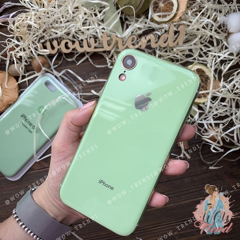 Чехол iPhone XR Glass Silicone Case Logo /mint gum/