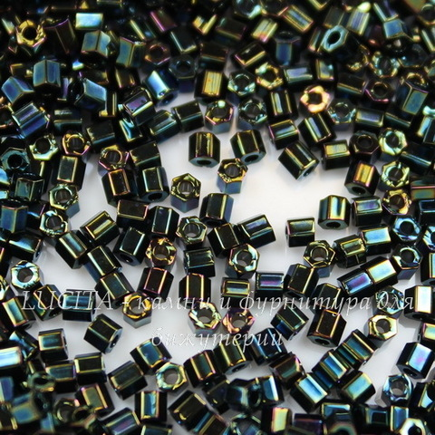 0084 Бисер японский TOHO Hexagon (шестиугольный) 11/0, зелено-коричневый металлик ирис