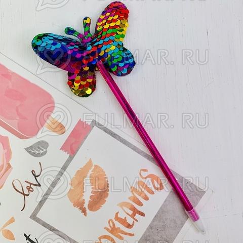 Ручка с пайетками Бабочка Радужная-Серебристая