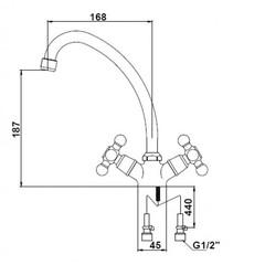 Смеситель KAISER Carlson Lux 11062 для кухни схема