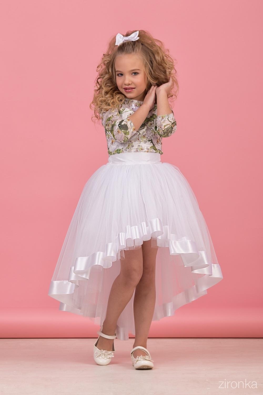 Комплект (блузка, майка, юбка) для девочки 64-8005-1