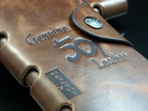Mens Brown Leather Long Wallet №2