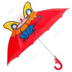 Детский зонтик красный со львом и ушками со свистком