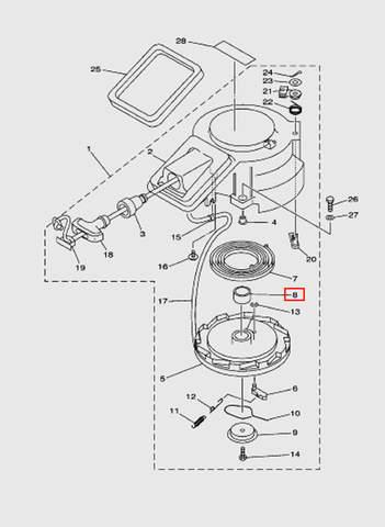 Втулка стартера для лодочного мотора T15, OTH 9,9 SEA-PRO (7-8)