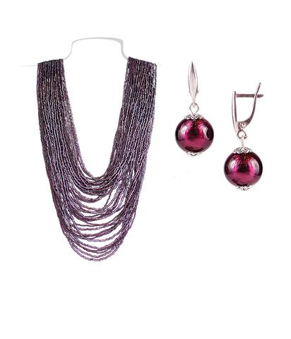 Комплект бисерный фиолетовый (серьги-бусины и колье) №4