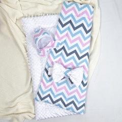 СуперМамкет. Конверт-одеяло с бантом и шапочкой Зигзаг, голубой/розовый/белый вид 2