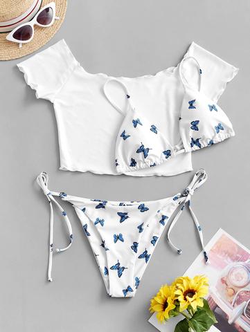 купальник раздельный бикини белый с бабочками и топом комплект 1