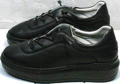 Осенние кроссовки кожаные женские Rozen M-520 All Black.